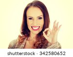 casual woman showing the... | Shutterstock . vector #342580652