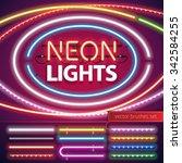neon lights decoration set for... | Shutterstock .eps vector #342584255