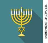 vector menorah  flat design | Shutterstock .eps vector #342592136