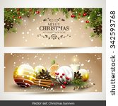 vector set of two christmas... | Shutterstock .eps vector #342593768