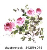 bouquet of roses in chinese... | Shutterstock . vector #342596096