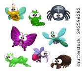 funny cartoon insects set ... | Shutterstock . vector #342596282