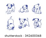 Stock vector dogs pose drawing a collection doodle rough sketch 342600368