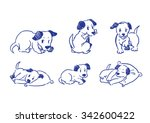 Stock vector dogs pose drawing a collection doodle rough sketch 342600422