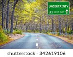 uncertainty road sign against...   Shutterstock . vector #342619106