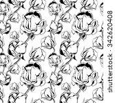 rose pattern black white | Shutterstock .eps vector #342620408