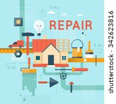 home repair  home construction. ... | Shutterstock .eps vector #342623816