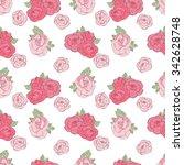 pattern made of garden roses.... | Shutterstock .eps vector #342628748