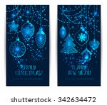 christmas toys on dark blue... | Shutterstock .eps vector #342634472