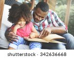 father daughter bonding cozy... | Shutterstock . vector #342636668