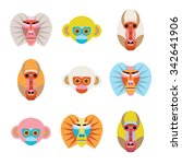 set of colorful cartoon monkey... | Shutterstock .eps vector #342641906