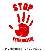 bloody hands stop terrorism... | Shutterstock .eps vector #342644276