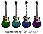 colorful electric guitars... | Shutterstock . vector #34264687