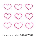 hand drawn vector red heart... | Shutterstock .eps vector #342647882