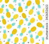 Pineapple And Hearts Seamless...