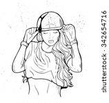 rap music girl. pretty young...   Shutterstock .eps vector #342654716