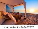 Stock photo romantic luxury dinner setting at tropical beach on sunset 342657776