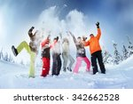 group of friends snowboarders... | Shutterstock . vector #342662528