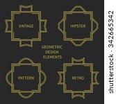 set of line retro gold frame...   Shutterstock .eps vector #342665342