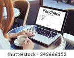 feedback concept  write review... | Shutterstock . vector #342666152