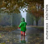 Baby Walking In Autumn Rainy...