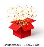 Open Red Gift Box And Confetti...
