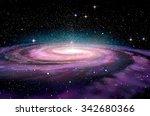 spiral galaxy in deep spcae  3d ...   Shutterstock . vector #342680366