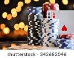 christmas setting with poker...   Shutterstock . vector #342682046