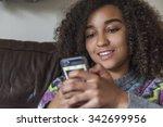 beautiful happy mixed race... | Shutterstock . vector #342699956
