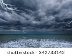 Dark Stormy Sky Above The Ocea...