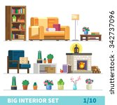 big detailed interior set. cozy ... | Shutterstock .eps vector #342737096