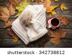 warm clothes and a cup of tea... | Shutterstock . vector #342738812