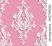 damask seamless background with ... | Shutterstock . vector #342739202