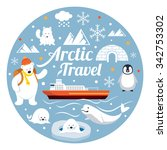 arctic travel  label  winter ... | Shutterstock .eps vector #342753302