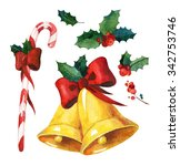 watercolor christmas set. candy ... | Shutterstock . vector #342753746