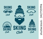 skiing club set of colored...