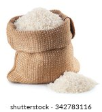 rice in burlap bag isolated on... | Shutterstock . vector #342783116