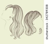 vector sketched women hairstyles | Shutterstock .eps vector #342789308