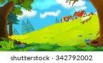 cartoon background of old... | Shutterstock . vector #342792002