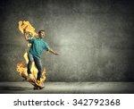 skater boy riding on his... | Shutterstock . vector #342792368