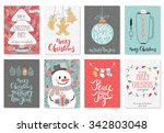 christmas hand drawn card set.... | Shutterstock .eps vector #342803048