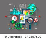 flat design of search engine... | Shutterstock .eps vector #342807602