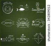 vector set of seafood logos.... | Shutterstock .eps vector #342809012