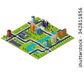 isometric big city map.... | Shutterstock .eps vector #342811856