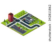 isometric city map. crossroads... | Shutterstock .eps vector #342811862