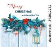 christmas and new year card... | Shutterstock .eps vector #342812252