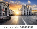duomo at sunrise  milan  europe. | Shutterstock . vector #342813632