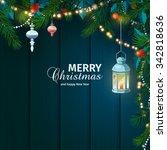 christmas card with fir... | Shutterstock .eps vector #342818636