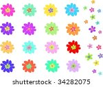 mix of two types of flowers... | Shutterstock .eps vector #34282075