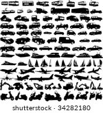 transportation silhouettes... | Shutterstock .eps vector #34282180